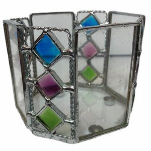 Octagonal Stained Glass Votive Tea Candle Holder
